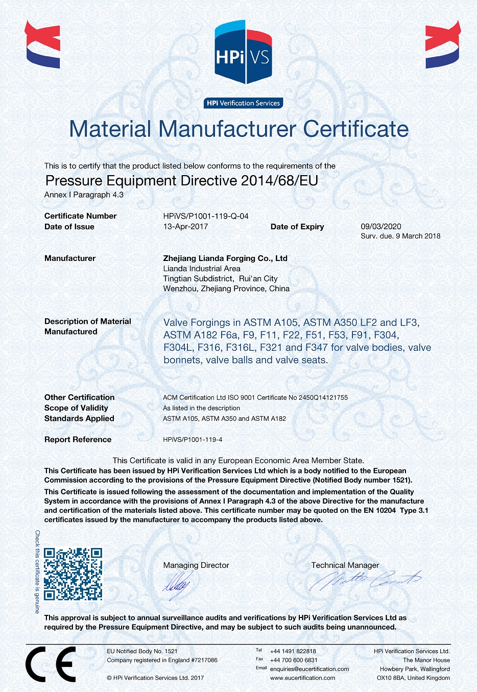 PED 2014/68/EU Certification - LD FORGE